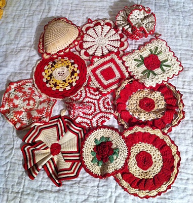 Vintage red pot holders ~  I have many of these darlings ~ Why ????