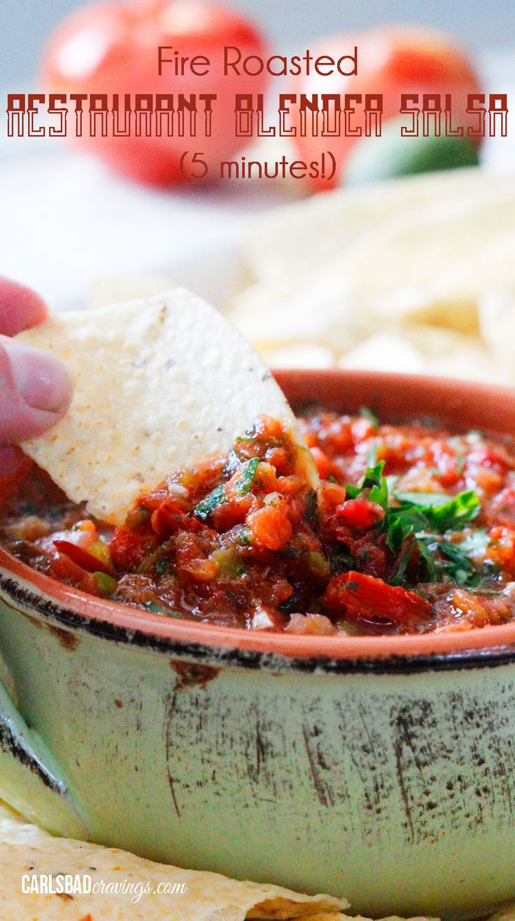 Fire Roasted Restaurant Blender Salsa (5 Minutes!) | Everybody needs the perfect salsa recipe and this is it! Better than any restaurant salsa and SO EASY! You will want to bring this for every party and make to smother all your Mexican food! | Carlsbad Cravings