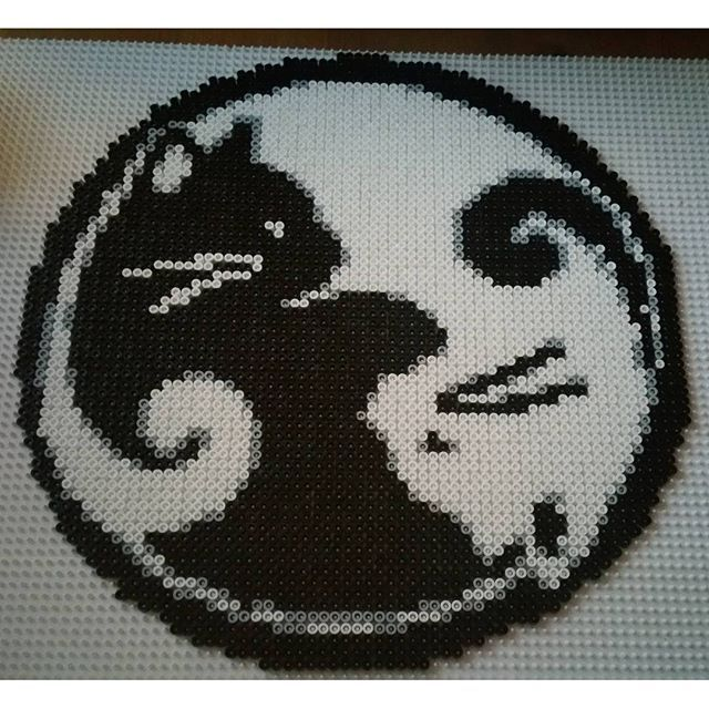 Ying Yang cat perler beads by jannickeriksson