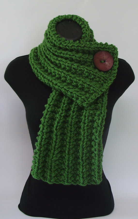 etsy chunky, knit cowl, with button on the left