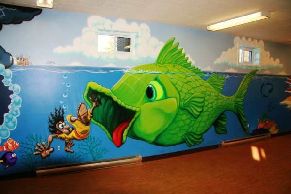 Jerry 39 s airbrush jonah and whale wall murals jerry 39 s art for Church mural ideas