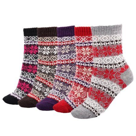 Lovely Annie Women's 5 Pairs Pack Fashion Plaid-Maple Leaf Wool Socks One Size 7-9