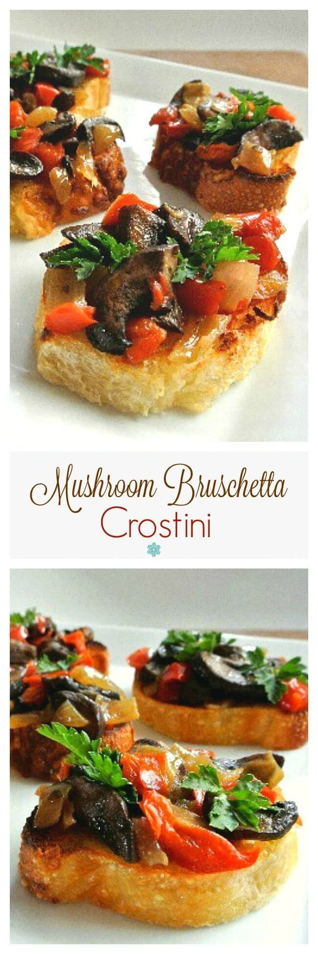 Mushroom Bruschetta Crostini is a fantastic appetizer that has only 6 ingredients. It comes together quickly for perfect Mediterranean classic flavors. ~ https://veganinthefreezer.com