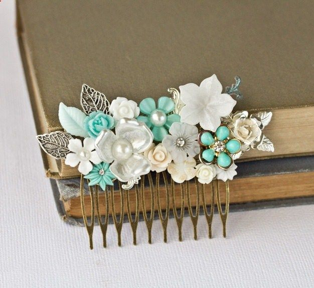 FREE SHIPPING Wedding Hair Comb - Bridal Hair Accessories, Sea Glass Green Beach Wedding, Bridal Hair Accessory, Something Old Vintage Blue. $99.00, via Etsy. .