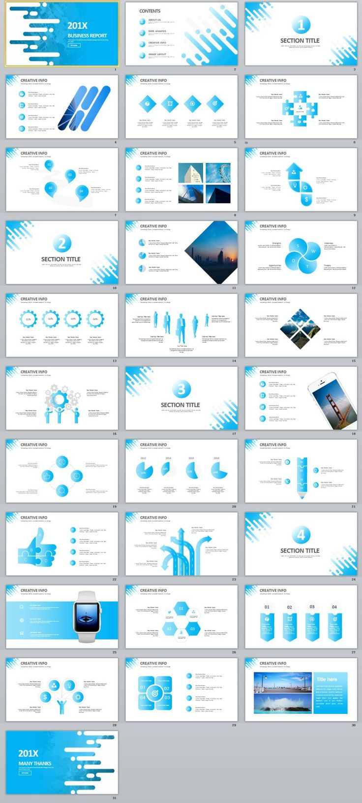 31+ Creative blue infographics PowerPoint template