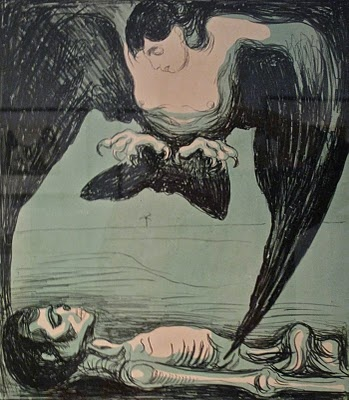 """Edvard Munch, Harpy, lithograph - In Greek mythology, a harpy was one of the winged spirits best known for constantly stealing all food from Phineus. The literal meaning of the word seems to be """"that which snatches"""" BTW, Please Check Out This Artist's work: -- http://universalthroughput.imobileappsys.com/site2/gallery.php"""