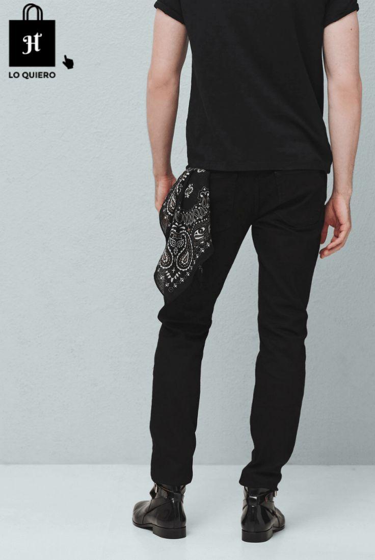 Tendencia bandana hombre pañuelo negro - blog tendencias #jotahoma #blog #moda #modahombre