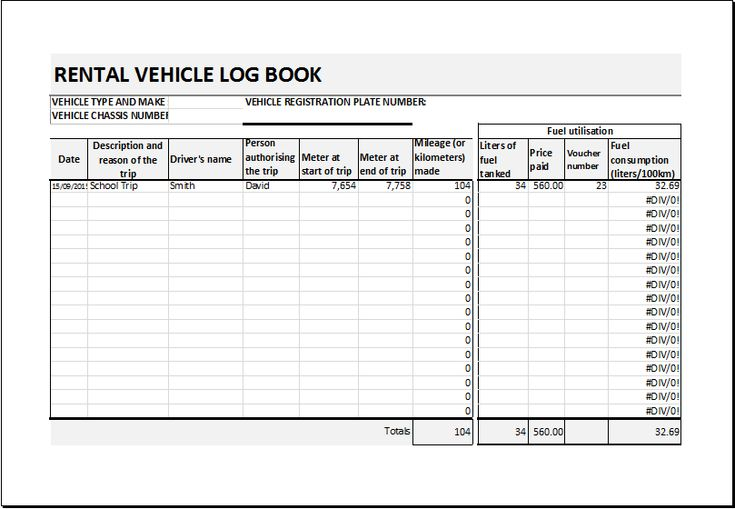 Rental vehicle log book template DOWNLOAD at    www - auto expense report