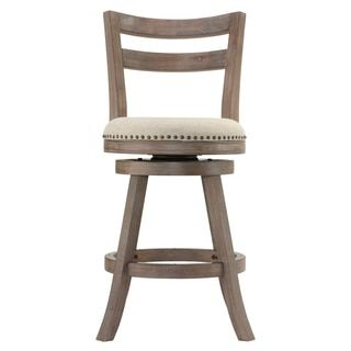 Cortesi Home Harper Beige Fabric Swivel Seat Counter Stool with Back | Overstock.com Shopping - The Best Deals on Bar Stools
