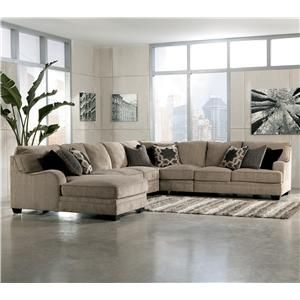 Katisha - Platinum 5-Piece Sectional Sofa with Left Chaise by Signature Design by Ashley at AHFA
