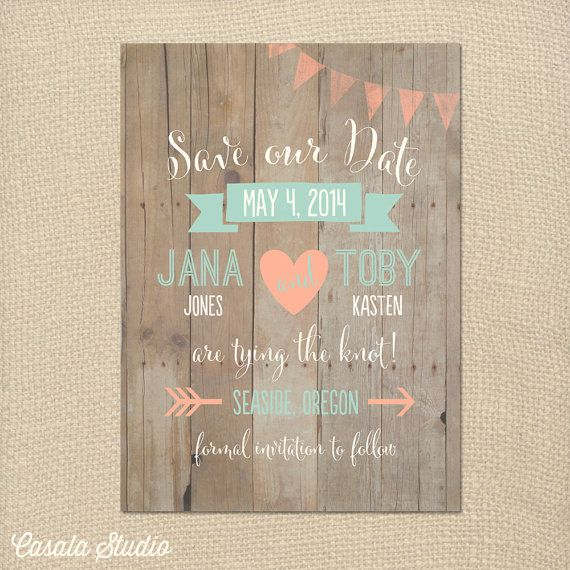 Whimsical Rustic Wood Mint and Peach Save the Date Wedding Announcement Invite Printable OR Printed Card on Etsy, $16.00