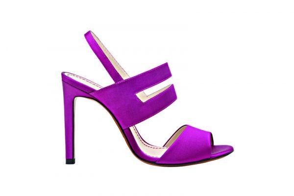 Santoni stile Haute couture di raso di seta : colori fluo e tacco alto per i sandali dell'estate 2014 - MarieClaire