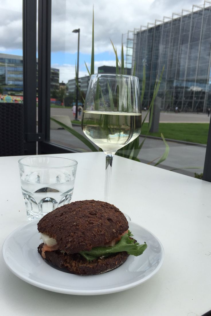 Sweet rye bread with Salmon and white wine at Music House terrace