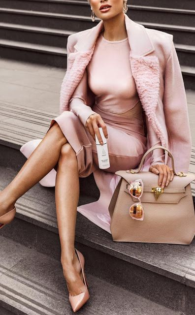 Outfit inspiration - blush pink tonal outfit, with a bodycon dress, coat, pointed court shoe heels and a cute bag