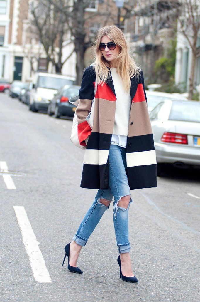 Colorful Coat, Ripped Jeans and Blue Heels