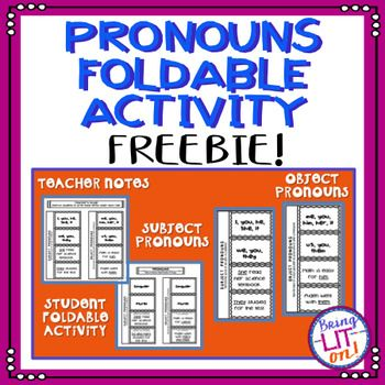 Use this FREE pronouns foldable to help your students identify subject and object pronouns.  The students will cut out each foldable, cut along the dotted lines, and glue the long strip to their paper.  Then, the teacher will guide them to list the singular and plural pronouns as well as replace nouns in example sentences with pronouns.
