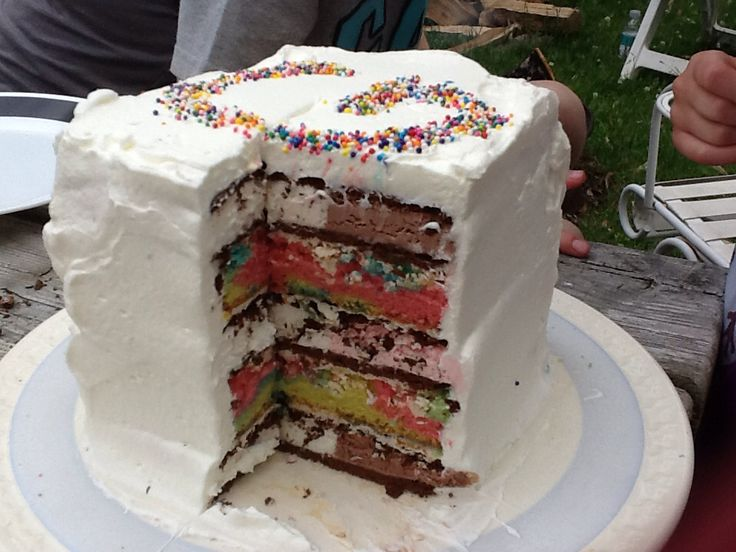 Combo ice cream sandwich and tie dye cake topped with yummy whipping cream. -layer 3 ice cream sandwiches on bottom -butter cream icing to glue the layers -tie dye cake cut to fit (vanilla cake w 4 separate colours) -5 layers total