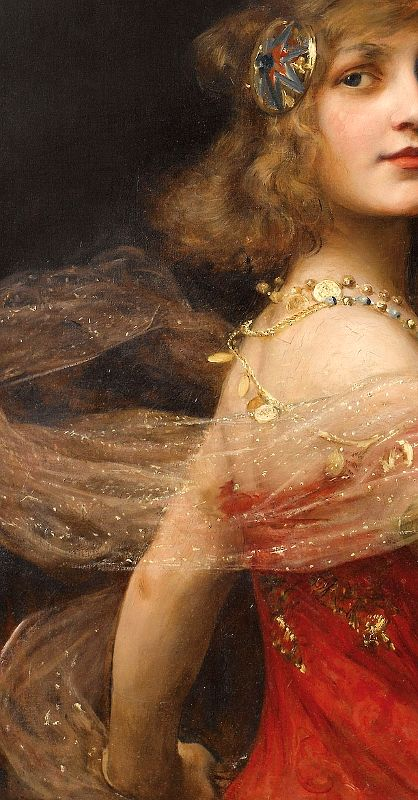 Salomé, Paul Antoine de La Boulaye. (1849 – 1926), detail Exciting. It captures the allure and thrill of catching a glimpse of her doing the Dance of the Seven Veils, through the prism of the culture/view of women during his own time...