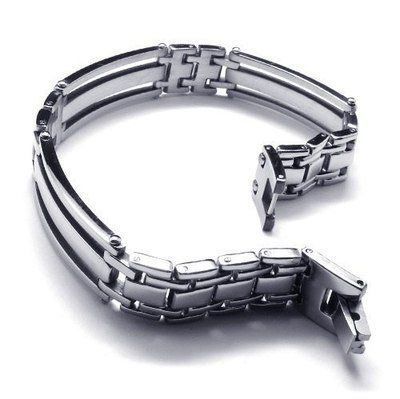 "Cheap bracelet steel, Buy Quality bracelet chain directly from China steel men Suppliers:  PRODUCT ID: 10018622 METAL: Stainless Steel   COLOR: Silver  SIZE: L:8.5"", W:13mm"