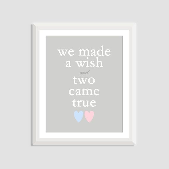 Perfect twin baby gift - this (unframed) twin nursery art says We Made a Wish and Two Came True with two small hearts at the bottom that can be customized in the colors of your choice. Perfect twin nursery decor for a boy girl twin nursery, twin girl nursery, or twin boy nursery. Good for a twin baby shower or as a gift for twins. Shown with one pink and one blue heart but colors can be customized to any of your choices. Printed on premium quality satin/luster photo paper (slight gloss)....