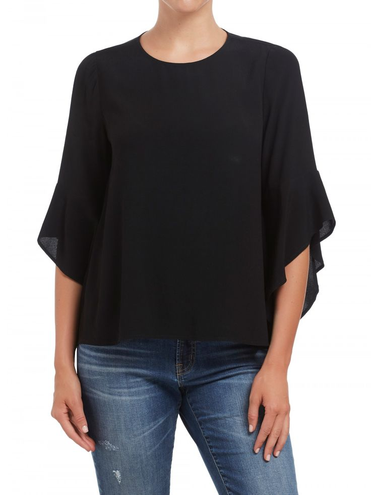 Black Fluted Sleeve Top
