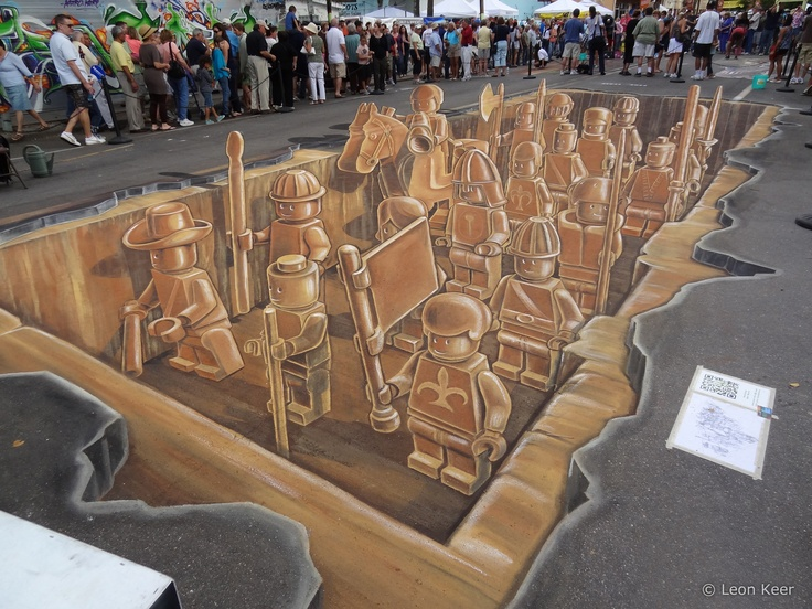 3D Lego Terracotta Army, design by Leon Keer©, created by Leon Keer, Peter Westerink, Remko van Schaik and Ruben Poncia. At Sarasota's 4th International Chalkfestival 2011