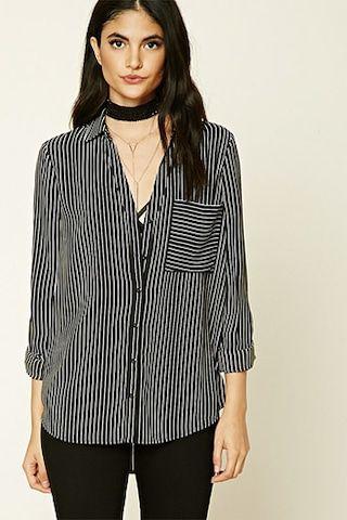 Striped Crepe Woven Shirt