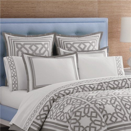 Jonathan Adler's intricate Parish duvet cover. Luxurious grey and white is the perfect palette to let the graphic trellis pattern pop on this modern bedding.