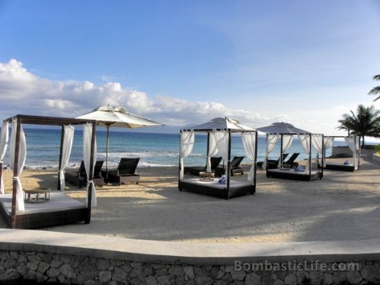 Daybeds along the beach at Misibis Bay, Philippines