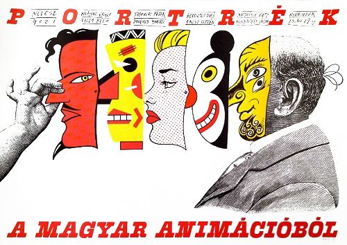 Portraits from the Hungarian Animation Playful composition created by István Orosz. He is a graphic artist, painter, poster designer and cartoon director, active still today. The artist designed this poster for an event at the 'Artist Cinema', in Budapest in 1980. The event presented leading figures in Hungarian animation art, such as István Orosz himself. This piece is a fascinating design with a humorous character.