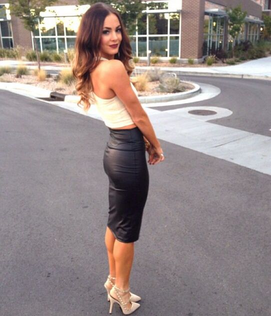 Loving that leather pencil skirt