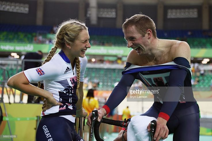Jason Kenny (R) of Great Britain talks with his girl friend and gold medalist…