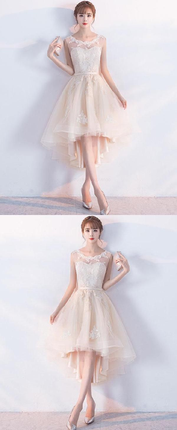 Discount cute prom dresses short champagne prom dresses lace prom