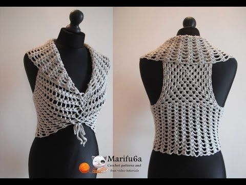 How to crochet easy vest bolero shrug for beginners free pattern tutorial by marifu6a - YouTube