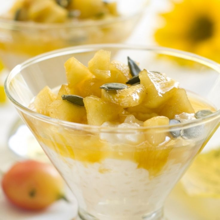 A healthy dessert idea for Crock Pot Rice Pudding...Delicious served with warm stewed apples.. Crock Pot Rice Pudding with Stewed Apple Pieces Recipe from Grandmothers Kitchen.
