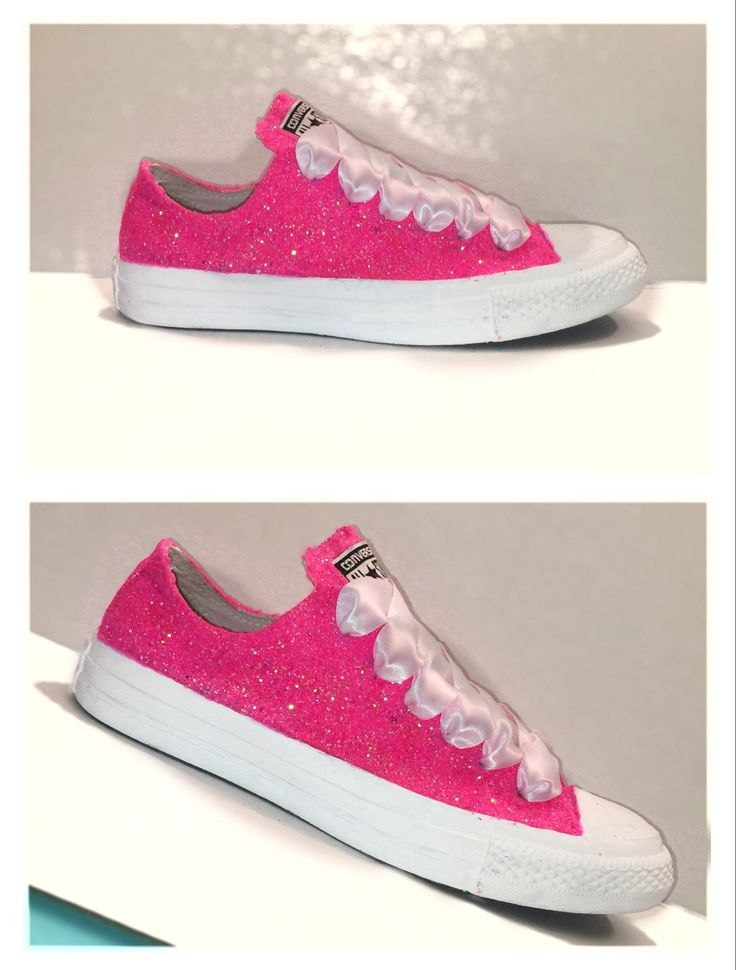 Women's Converse all star shoes handmade Sparkly glitter hot pink bright  chucks sneakers tennis wedding bride prom dance by CrystalCleatss on Etsy $10 off CODE: PINNED10