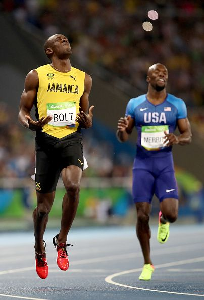 Usain Bolt of Jamaica wins the Men's 200m Final ahead of Lashawn Merritt of the…