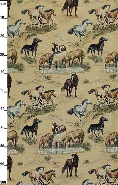 Gobelin meubelstof wild horses, wilde paarden