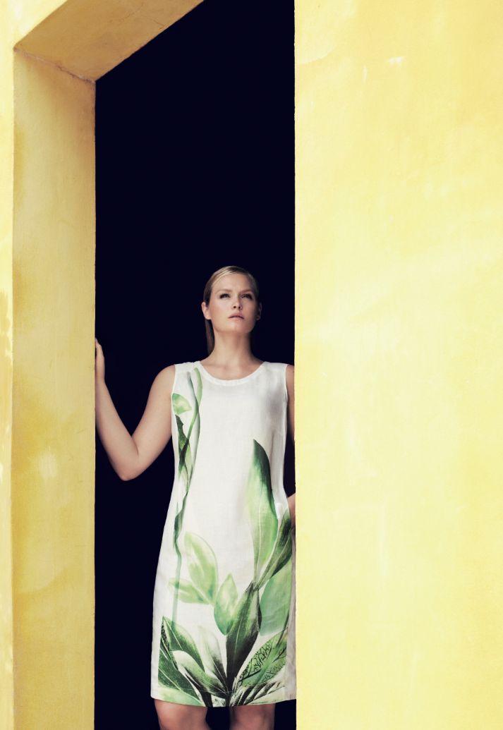 Marina Rinaldi cool white printed linen tunic dress.