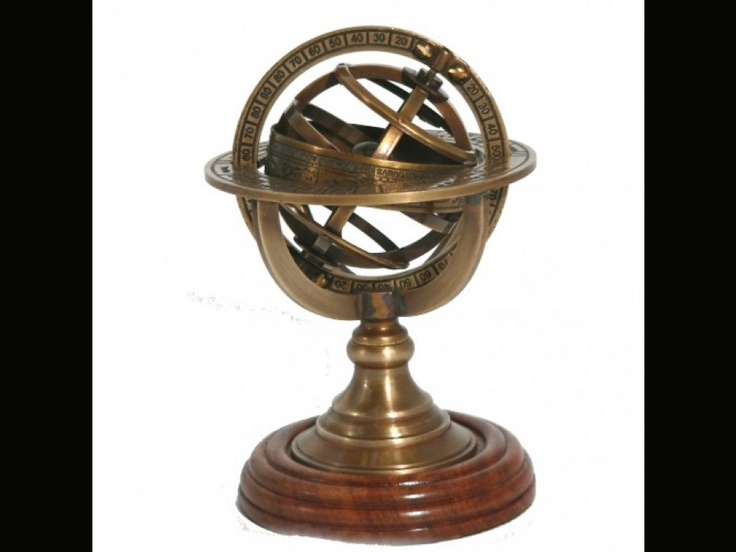 Armillary Sphere brass paperweight with wooden base