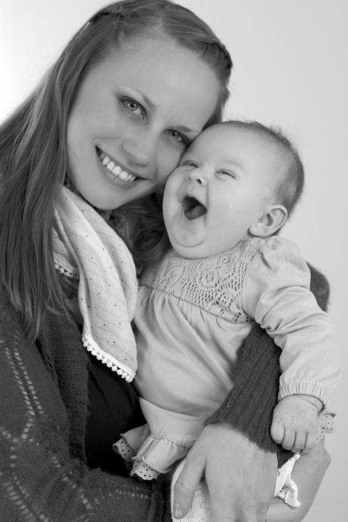 B/W mother and daughter portrait  Love her happy happy baby face