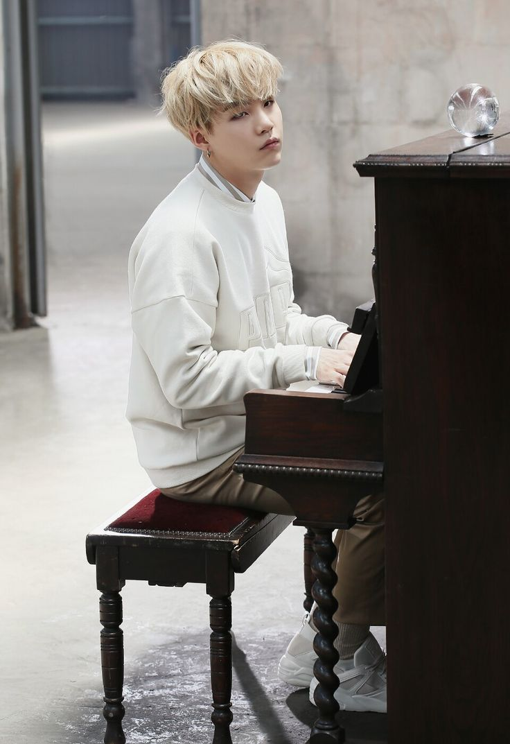 Suga ❤ (I've been waiting for a photo like this of Yoongi playing the piano! Thx Puma lol) Issue 1 PUMA BOG SOCK X #BTS #방탄소년단