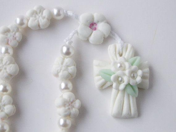 Mini flor del Rosario granos de rezo de flor por CreacionesDeElena