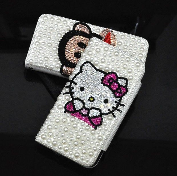 Luxury Pearl Swarovski Crystal Leather Wallet Case for iphone 5 case - Hello Kitty