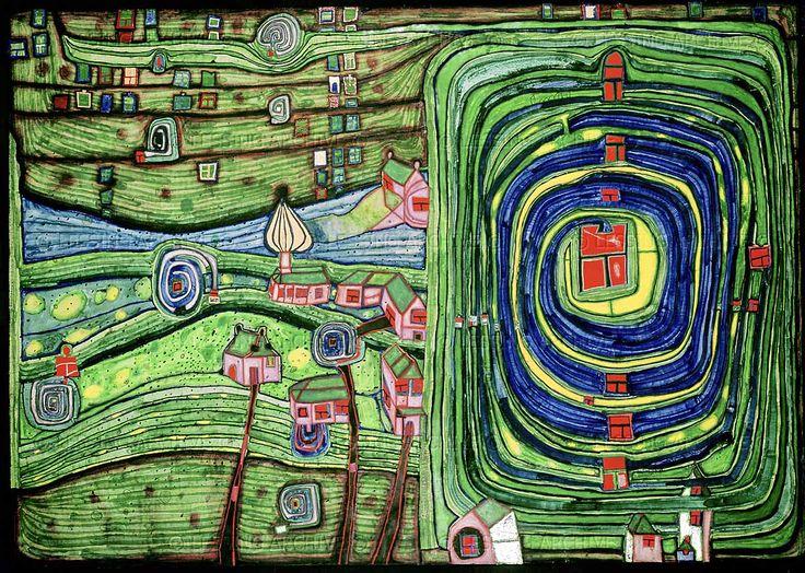 "German artist Friedrich Hundertwasser's amazing ""Grass For Those Who Cry"""