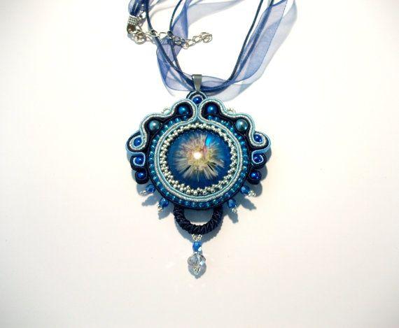 Blue silver flower soutache pendant  Real flower by KicsiYu