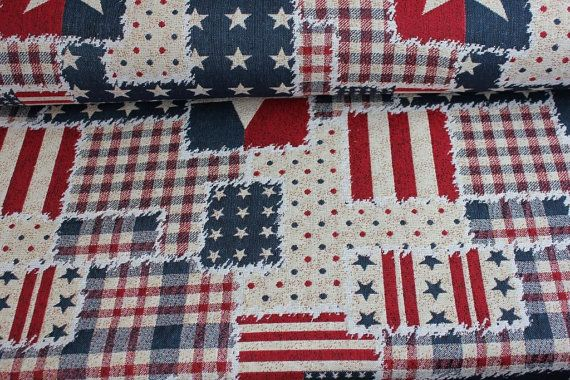 Jacquard fabric jean stars fabric american flag by FabrictalesShop