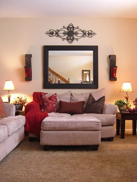 I have that wrought iron that is over the window hobby for Mirror wall decoration ideas living room