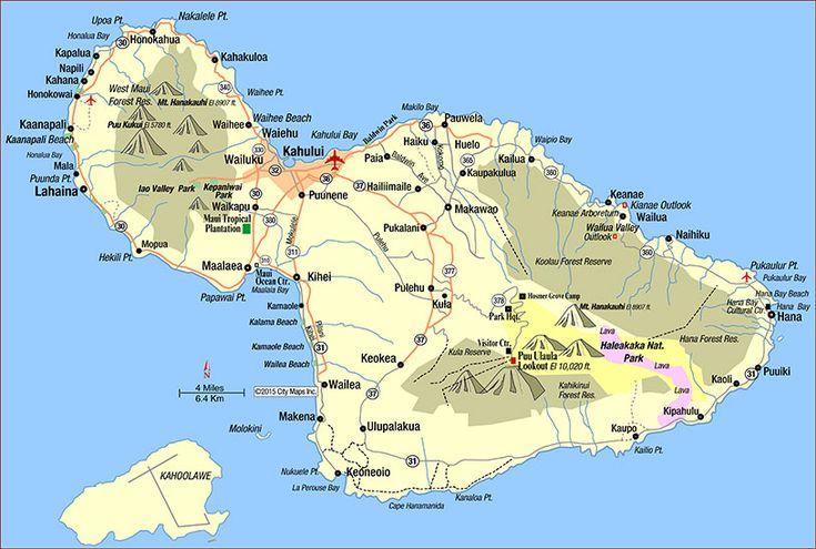 Road Map of Maui (Kahului, Hawaii)