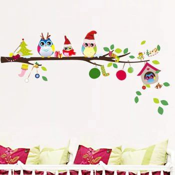 Removable Merry Christmas Colorful Owl Kids Room Wall Stickers -